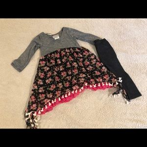 Twirls & Twigs Girl's Tunic Leggings Outfit 2T NWT